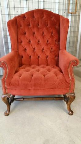 """Poppy"" Orange Wingback Chair"