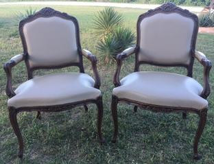 """""""Mary"""" Queen Anne Taupe Leather Chairs"""