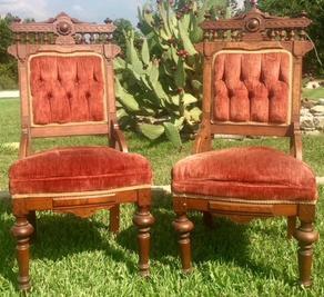 """Charlotte"""" TerraCotta Eastlake Chairs"""