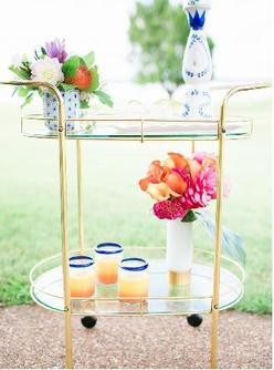 Brass & Glass Bar Cart (Decanters available separately)