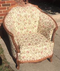 """""""Ophelia"""" Pink Floral Antique Chair"""