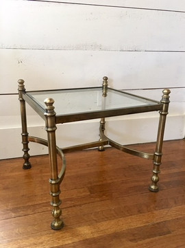Square Brass & Glass Side Table