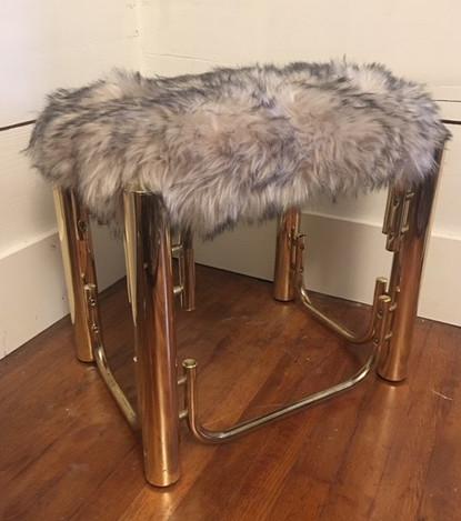 Gray Fur & Gold Bench