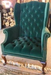 """Emerald"" Green Wingback Chair"