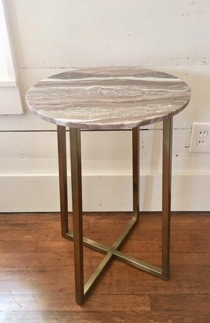 Lavendar Marble & Brass Table