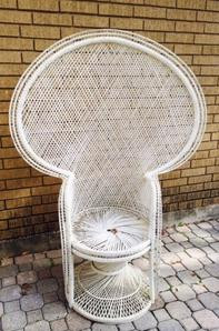 """""""Orchid"""" White Wicker Peacock Chair"""