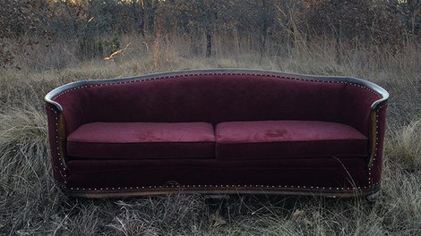 """""""Opal"""" Vintage Burgundy Couch"""