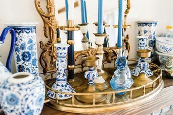 Blue Floral Vases, Candlesticks & More