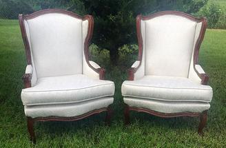 """Magnolia"" White Wingback Chairs"