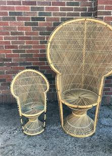 """""""Daffodil"""" Natural Wicker Peacock Chair-  $50/ea (2 available)"""