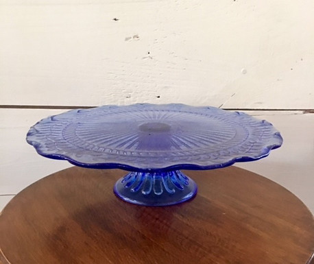 """11.5"""" Large Blue Glass Stand"""