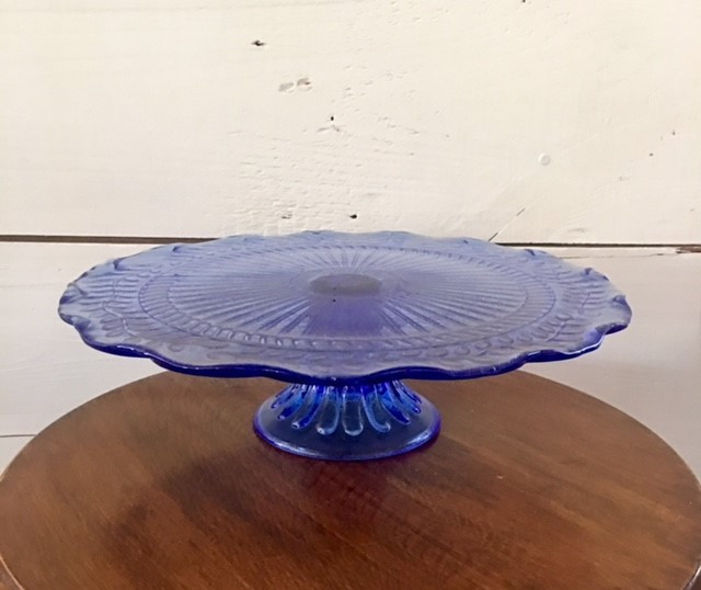 "11.5"" Large Blue Glass Stand"