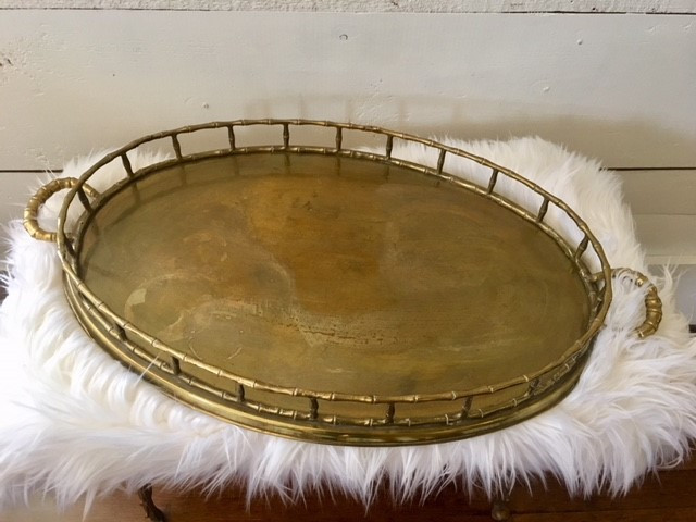 Brass Bamboo Oval Tray