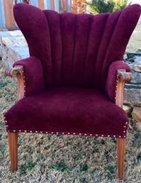 """Victoria"" Burgundy Wingback Chair"