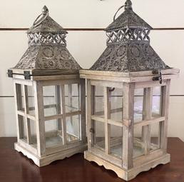 "Silver/Wood Lanterns 16"" Tall"