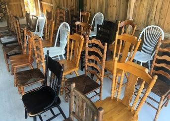 Mismatched wooden chairs