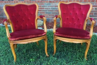 """""""Rosalee"""" Red Cane Bottom Chairs"""