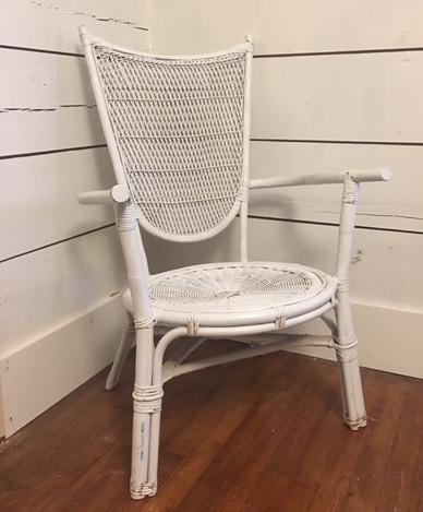 """Tulip"" White Wicker Side Chair"