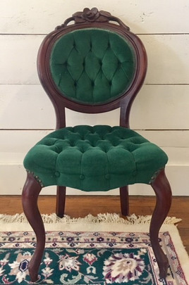 """""""Lillian"""" Green Parlor Chairs"""