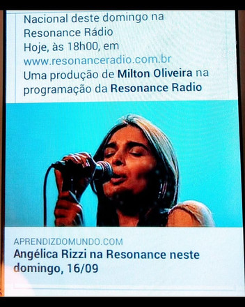 Atração Nacional neste domingo, a partir das 18h00, pela Resonance Rádio. Hoje, a convidada é Angéli