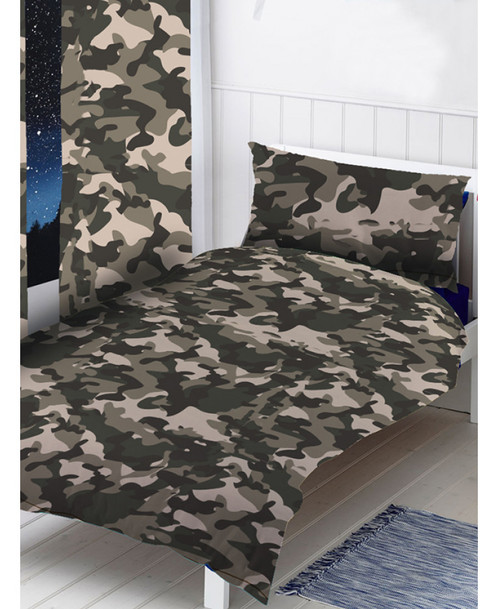 Grey Camouflage Duvet Cover Set