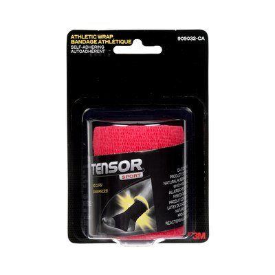 Tensor Sport Self-Adhering Athletic Bandage, Red, 3 in x 180 in