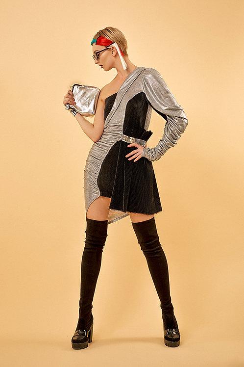 Платье с 1 рукавом, серебро