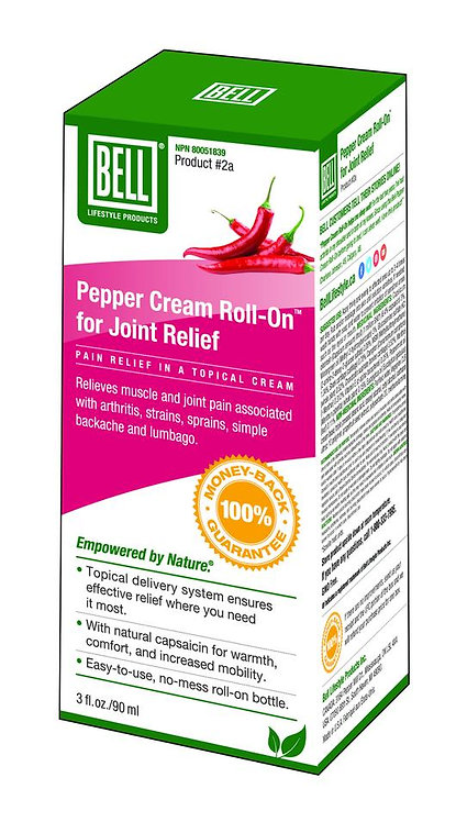 Pepper Cream for Joint Relief, Roll-On Bottle 90 mL