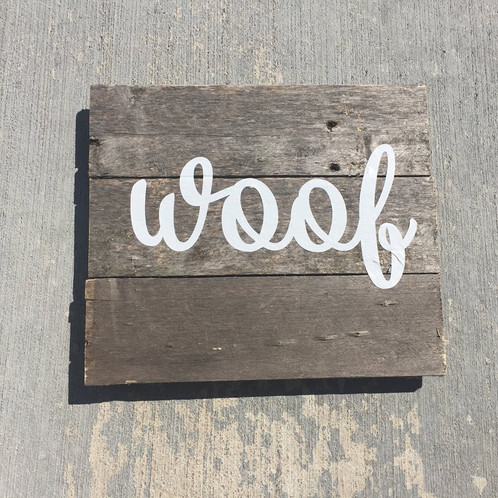 12 x 12 on Reclaimed Wood - Woof Latté & Wit Reclaimed Decor Created Locally In Milwaukee