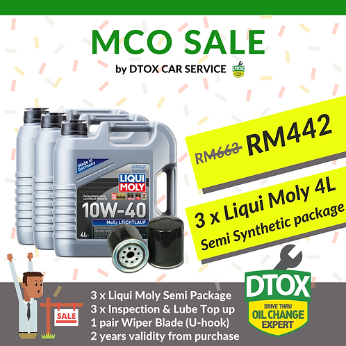 BUY 2 FREE 1 Liqui Moly MoS2 Semi Syn Package