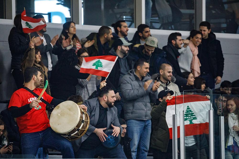 Team Lebanon fans cheering for their team