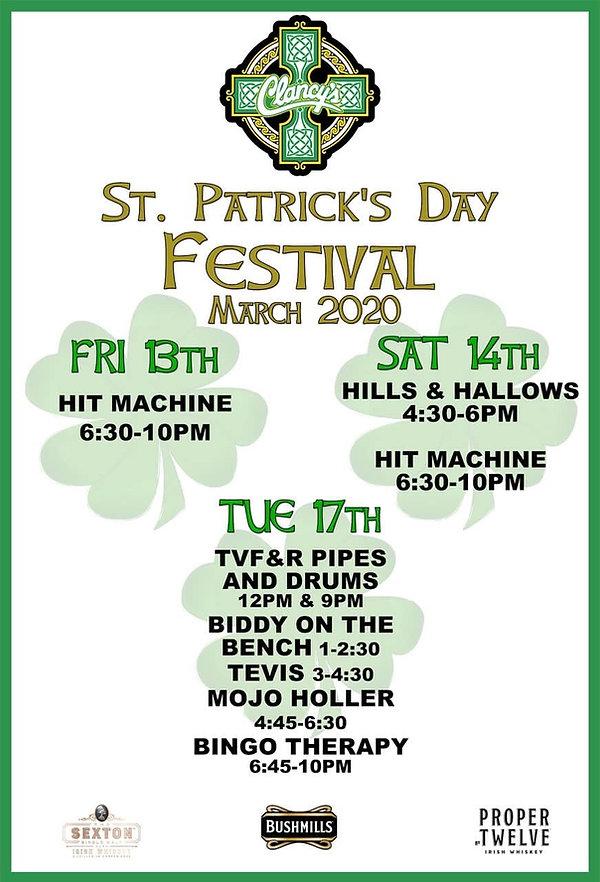 Clancy's St Patrick's Day Festival 2020.