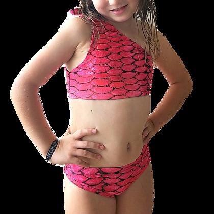 Strawberry Pink Mermaid Bikini One Shoulder