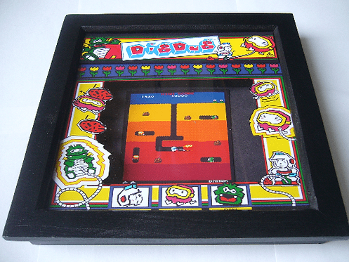 DIG DUG Arcade Screen 3D Diorama Shadow Box