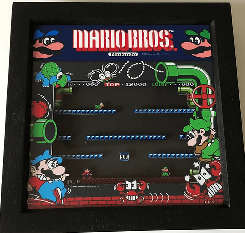 MARIO BROS Arcade Screen 3D Diorama Shadow Box