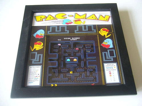 PAC MAN Arcade Screen 3D Diorama Shadow Box