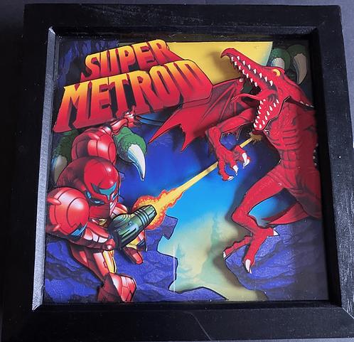 Super Metroid box art - 3D Art Diorama