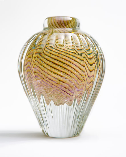 Faceted Twist Bud Vase- Amber, Purple and Blue
