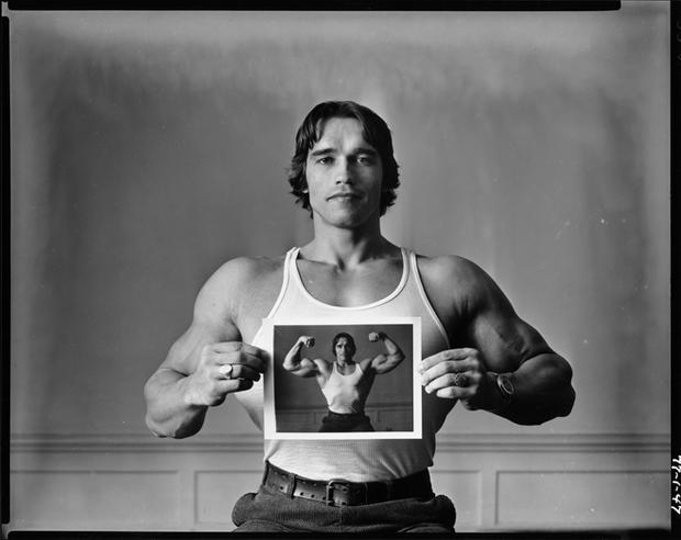 USA. New York City. 1977. Arnold Schwarzenegger.