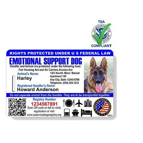 Custom Holograph Full Color Emotional Support Dog ID Card - Landscape