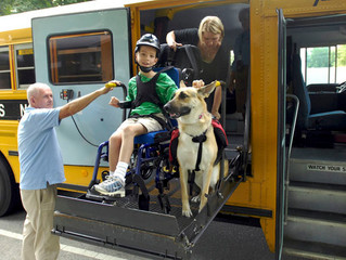 Service dogs can ride the school bus