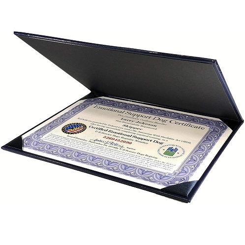 Certified Emotional Support Dog Certificate with Leather Presentation Folder