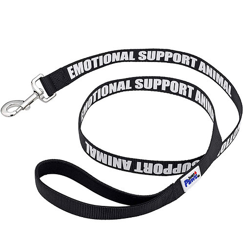 Emotional Support Dog Leash with Neoprene Handle & Reflective Print - Black