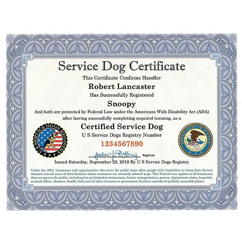 Certified Service Dog Certificate with Leather Presentation Folder