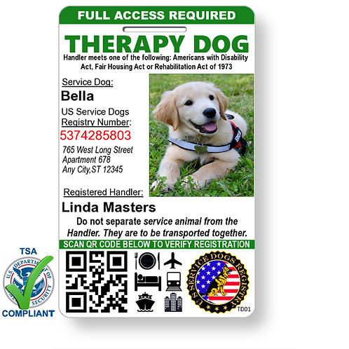 Custom Holograph Full Color Therapy Dog ID Card - Portrait