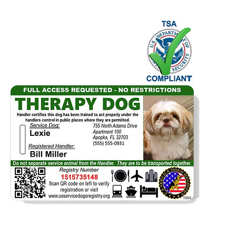 Custom Holographic QR Code Therapy Dog ID Card - Landscape