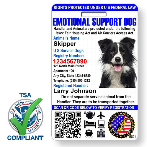 Custom Holograph Full Color Emotional Support Dog ID Card - Portrait