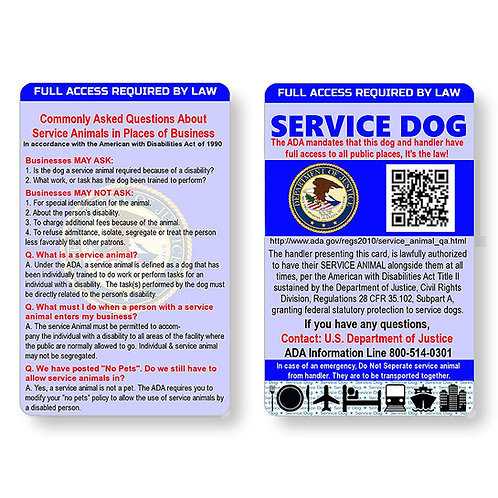 Service Dog ID Information Card   Includes Registration to U S Service Dogs Regi