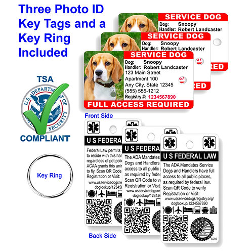 Custom Holographic QR Code Service Dog Key Tag ID Card  (Set of 3)