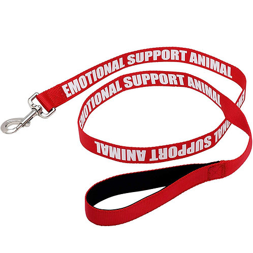 Padded Emotional Support Dog Leash with Neoprene Handle & Reflective Print - Red